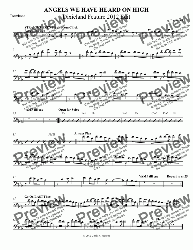 page one of the Trombone part from ANGELS WE HAVE HEARD ON HIGH Dixieland Feature 2012 Edit