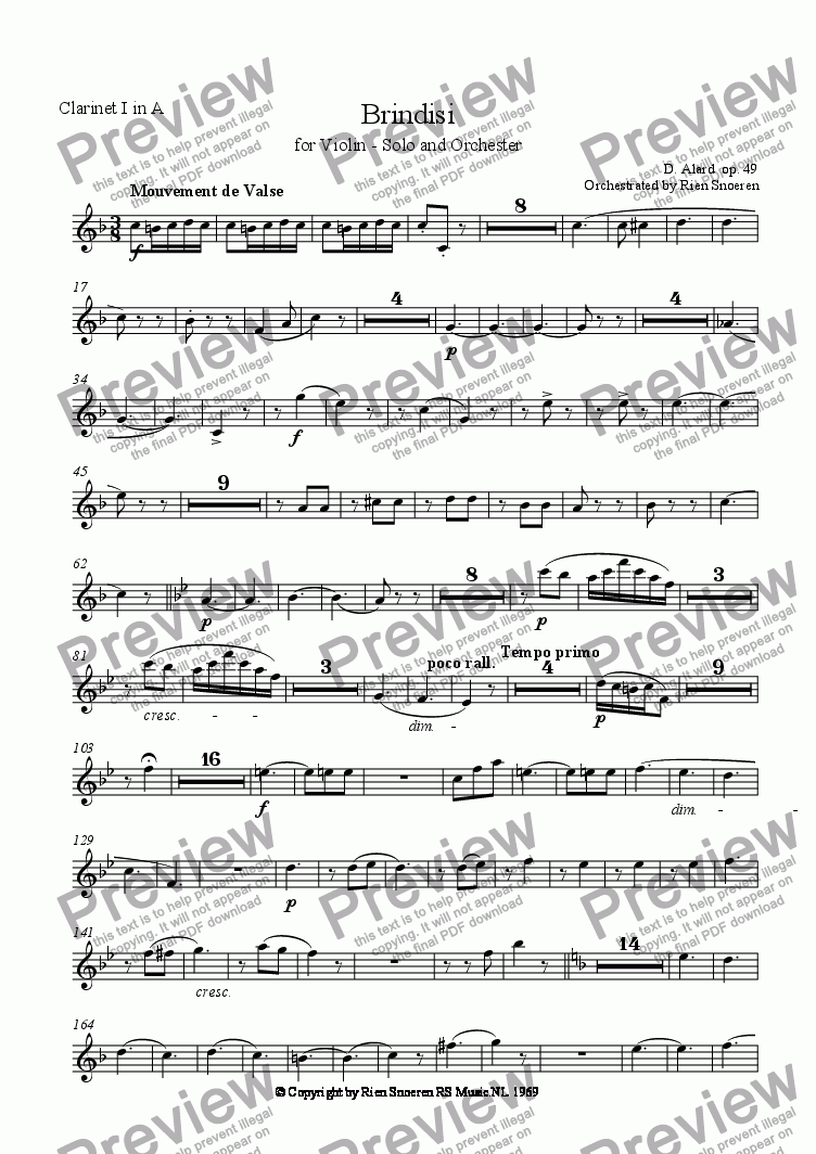 page one of the Clarinet 1 part from Brindisi