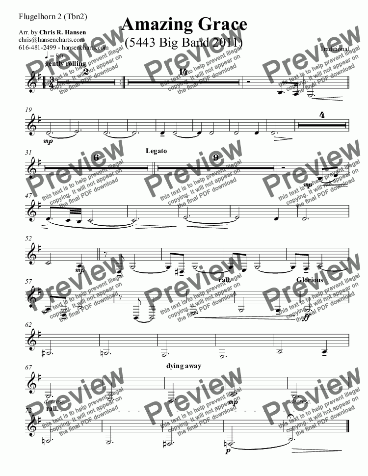 page one of the Flugelhorn 2 (Tbn2) part from Amazing Grace (5443 Big Band 2011)