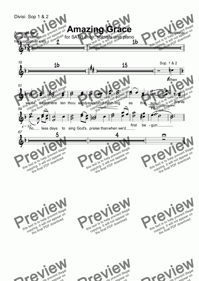 page one of the Divisi  Sop 1 & 2 part from Amazing Grace for SATB choir, soloists and piano
