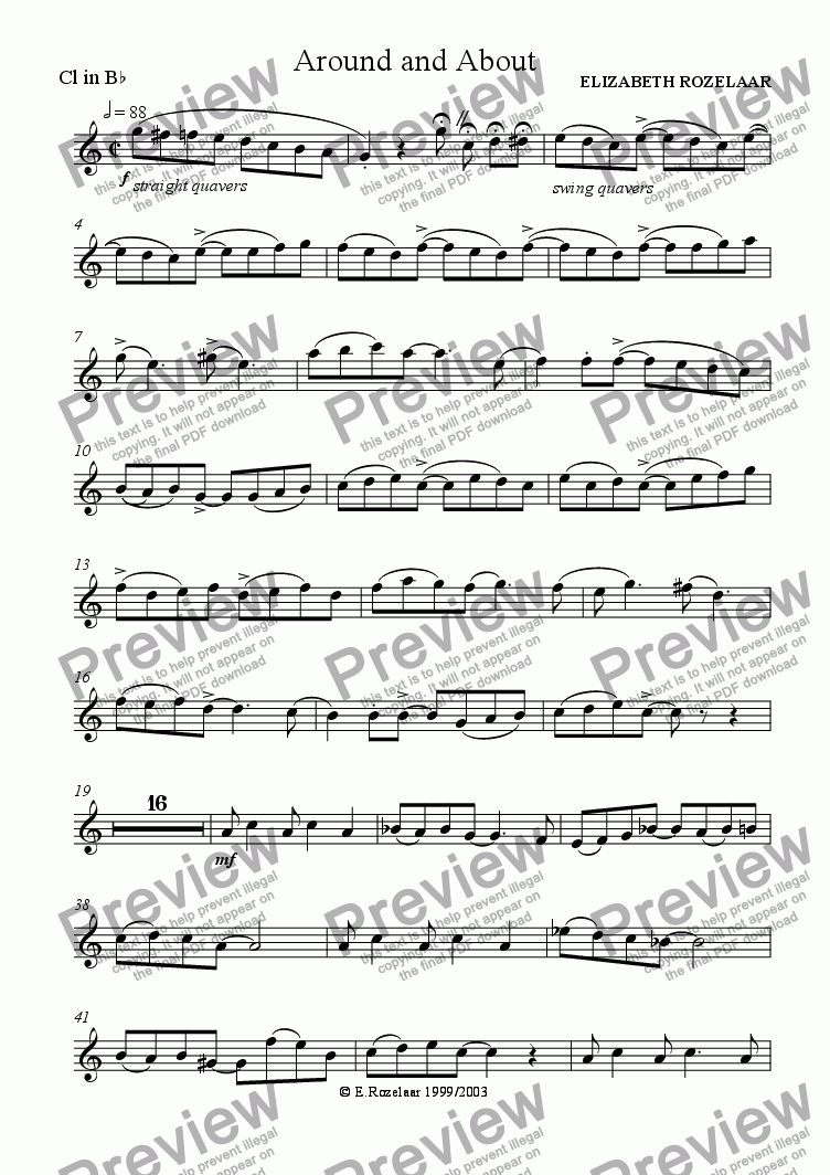 page one of the Clarinet part from Around and About