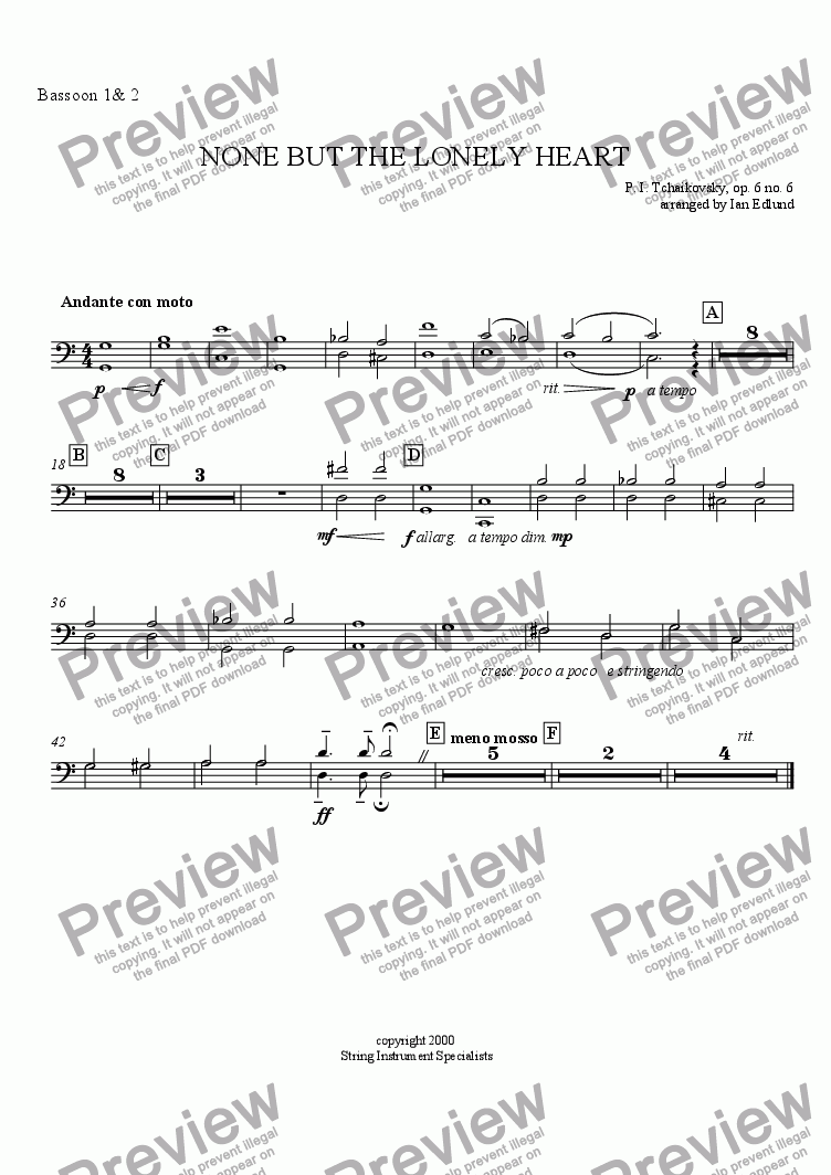 page one of the Bassoons I & II part from None But the Lonely Heart