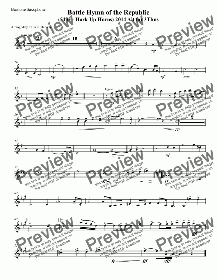 page one of the Baritone Saxophone part from Battle Hymn of the Republic (5433 - Hark Up Horns) 2014 Alt for 3Tbns