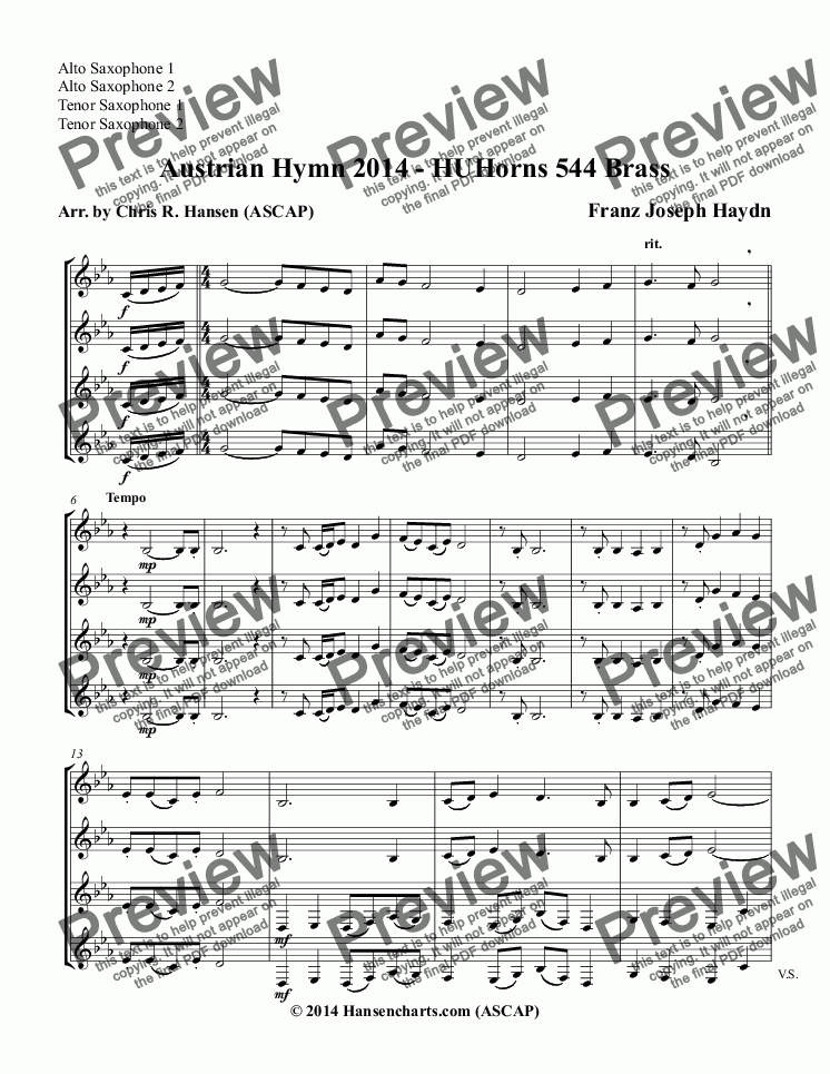 page one of the Alto Saxophone 1, Alto Saxophone 2, Tenor Saxophone 1, Tenor Saxophone 2 part from Austrian Hymn 2014 - HUHorns 544 Brass