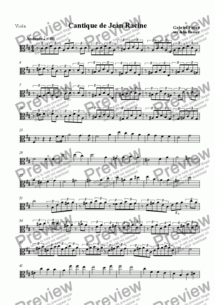 page one of the Viola part from Cantique de Jean Racine
