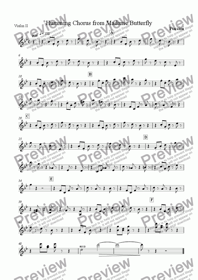 page one of the Violin 2 part from Humming Chorus