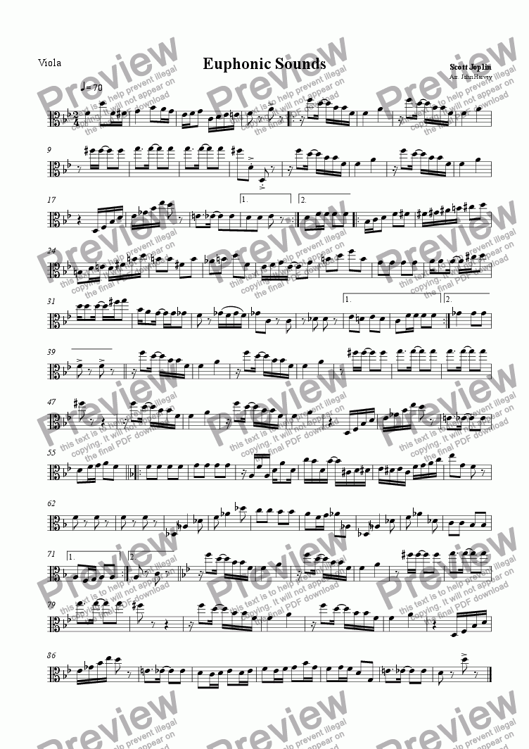 page one of the Viola part from Euphonic Sounds