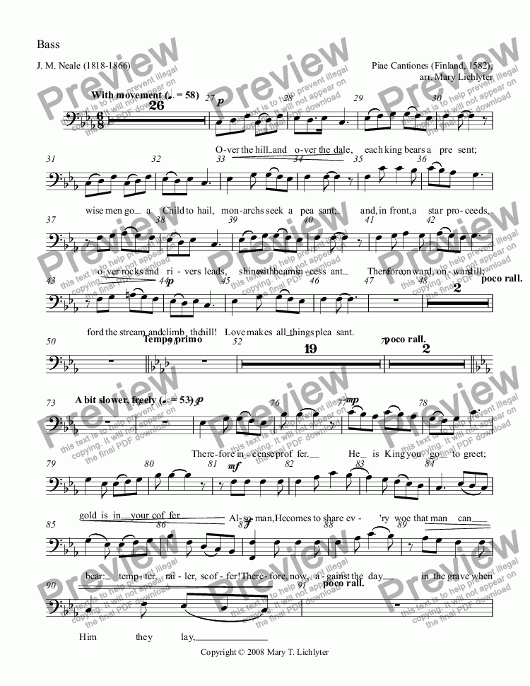 page one of the Bass part from Over the Hill and Over the Dale