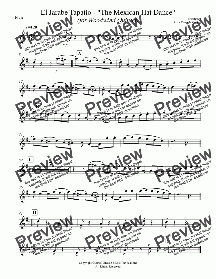 "page one of the Flute part from El Jarabe Tapatío - ""Mexican Hat Dance"" (for Woodwind Quintet)"