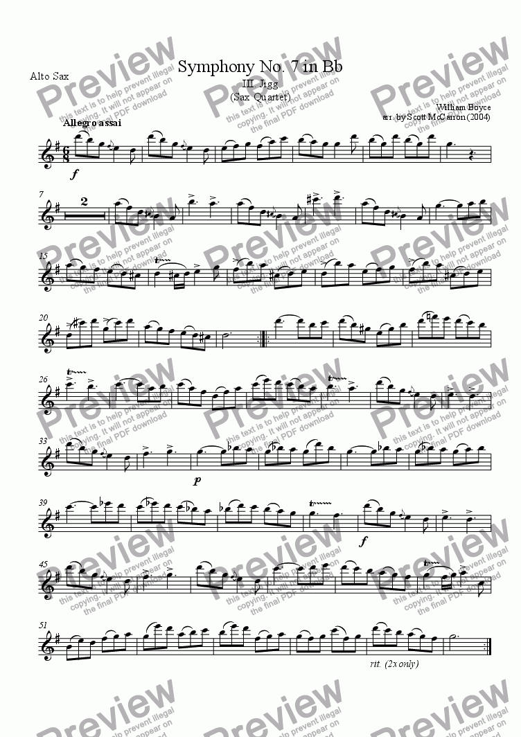 page one of the Alto Saxophone part from Symphony No. 7 in Bb - III.  Jigg