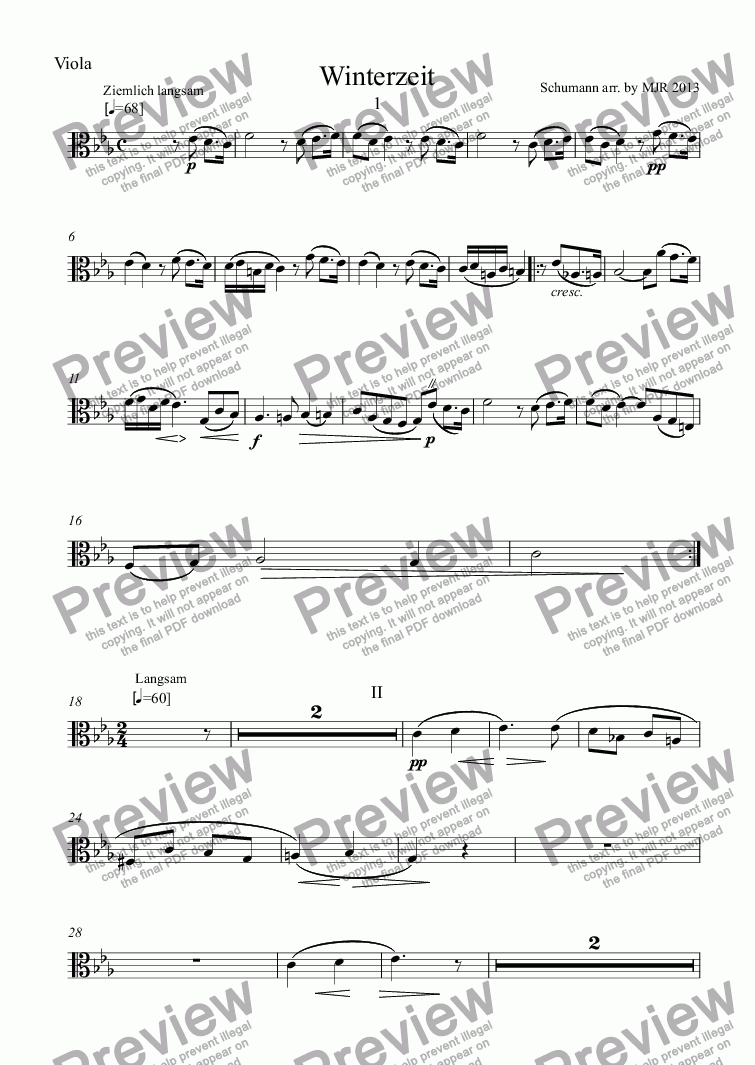 page one of the Viola part from Winterzeit