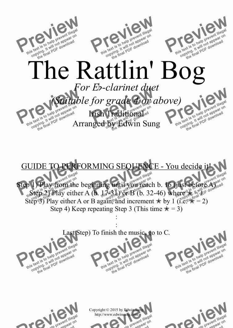 page one of the Clarinet 2 part from The Rattlin' Bog (for Eb-clarinet duet, suitable for grade 4 or above) (152ECDU03)