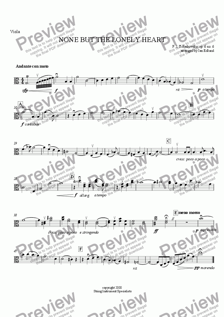 page one of the Viola part from None But the Lonely Heart