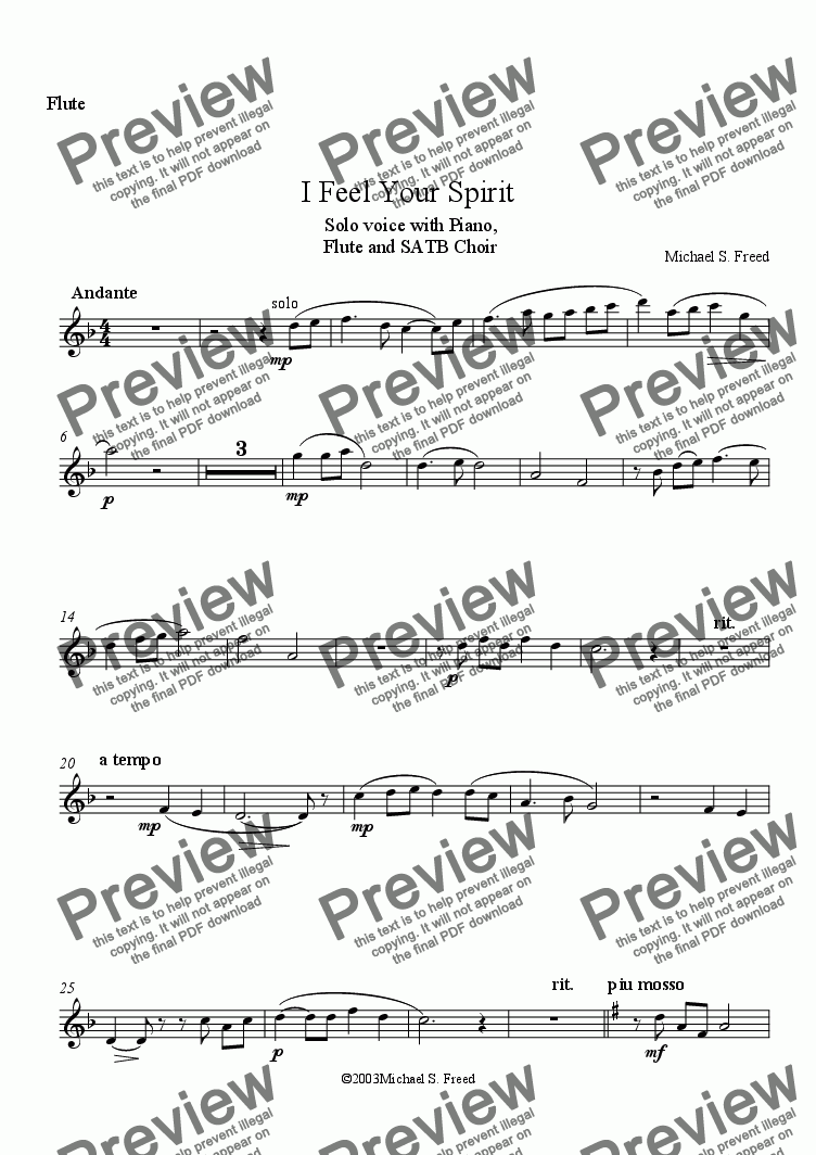 page one of the Flute part from I Feel Your Spirit