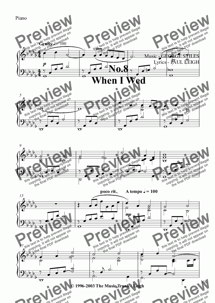 page one of the Piano part from When I Wed