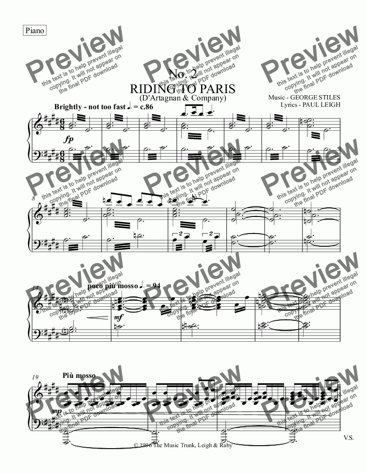 page one of the Piano part from Riding to Paris