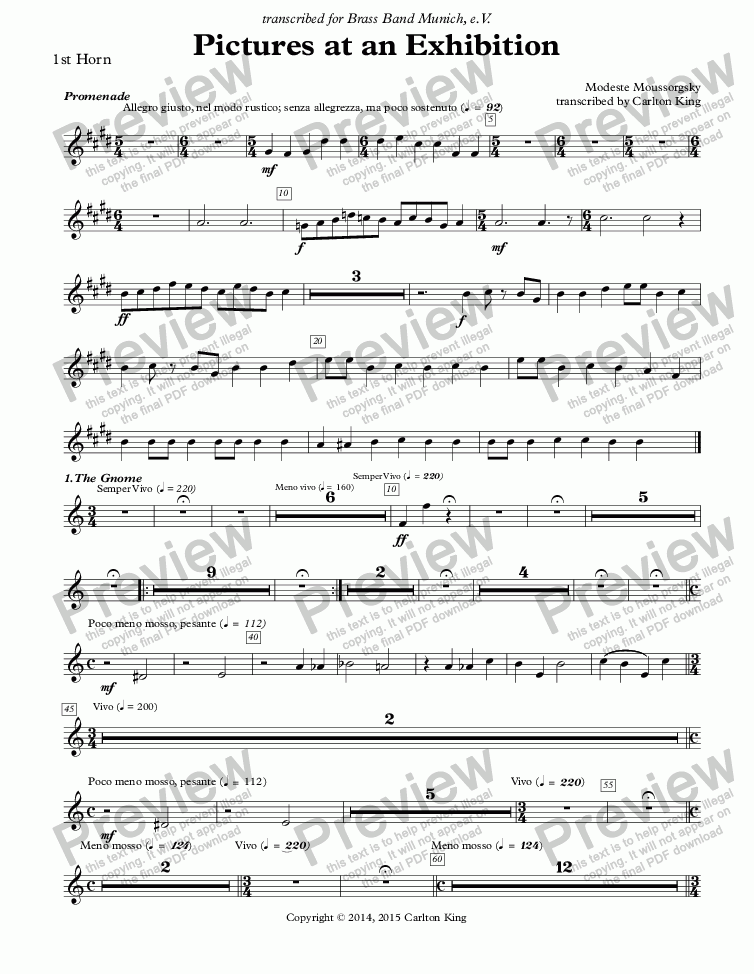 page one of the 1st Horn part from Pictures at an Exhibition