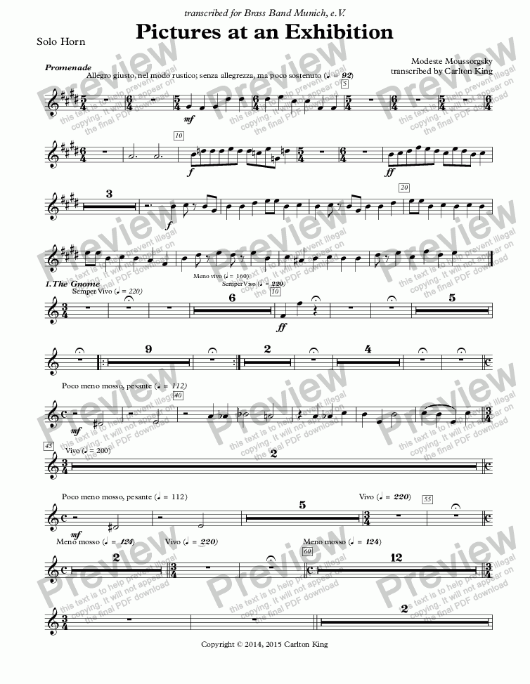 page one of the Solo Horn part from Pictures at an Exhibition