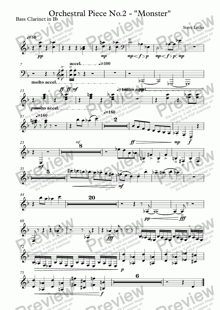 "page one of the Bass Clarinet in B^b part from Orchestral Piece No.2 - ""Monster"""