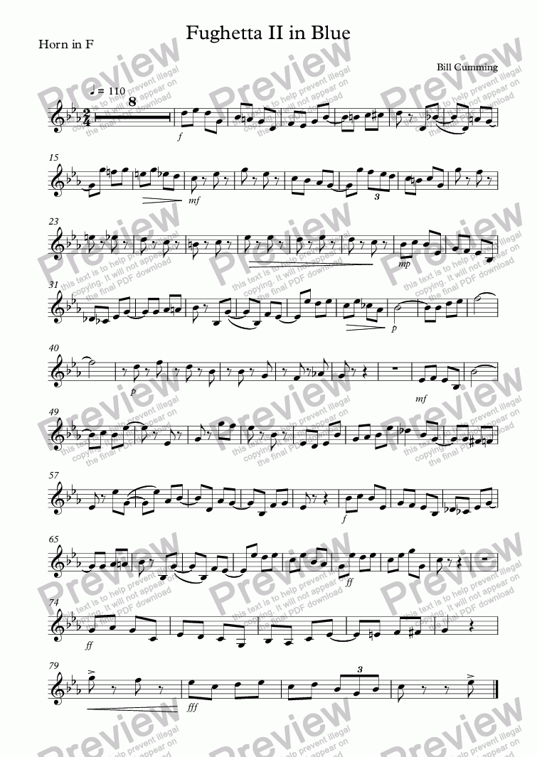 "page one of the Horn in F part from ""Fughetta II in Blue"" for brass trio"