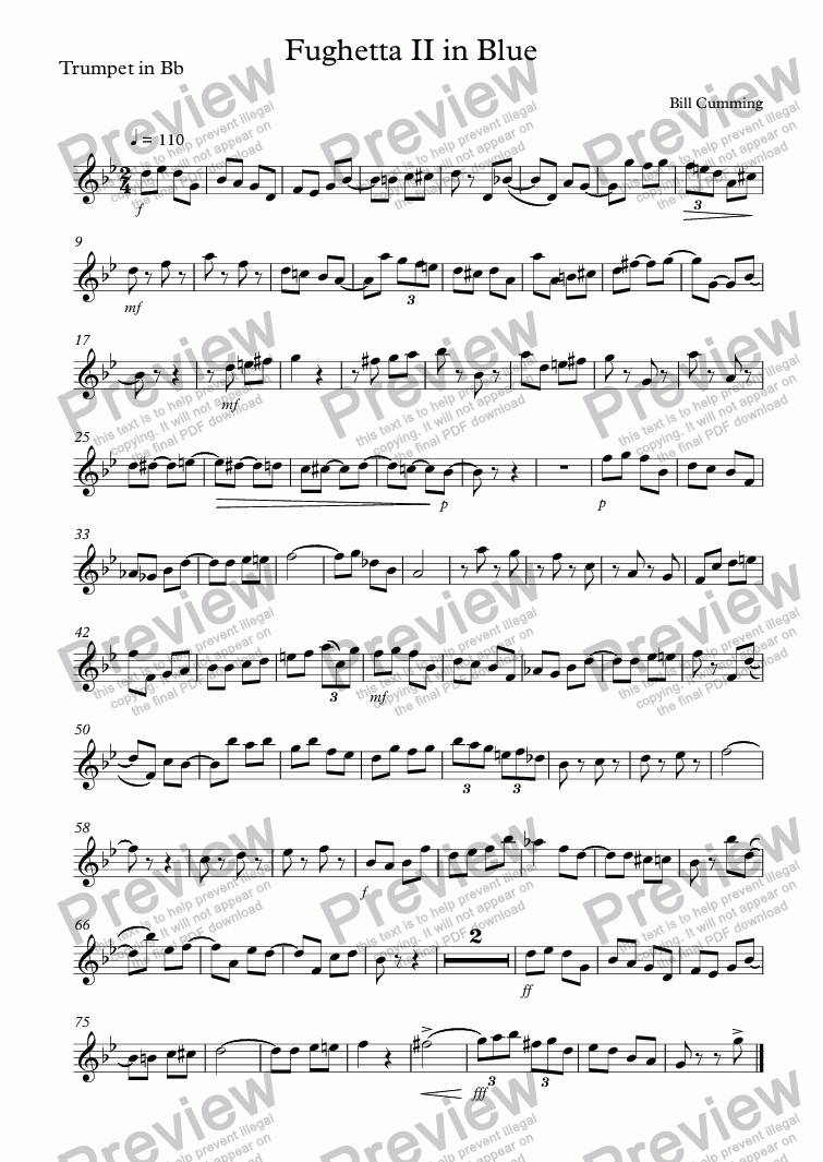 "page one of the Trumpet in Bb part from ""Fughetta II in Blue"" for brass trio"