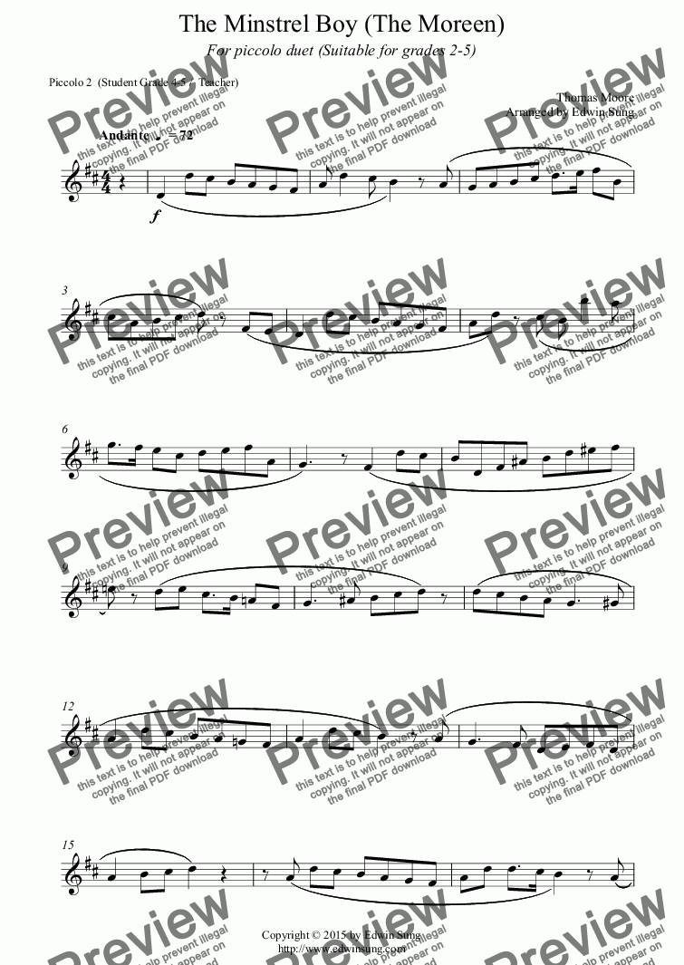 page one of the Piccolo 2  (Student Grade 4-5 /  Teacher) part from The Minstrel Boy (The Moreen) (for piccolo duet, suitable for grades 2-5) (152PCDU02)