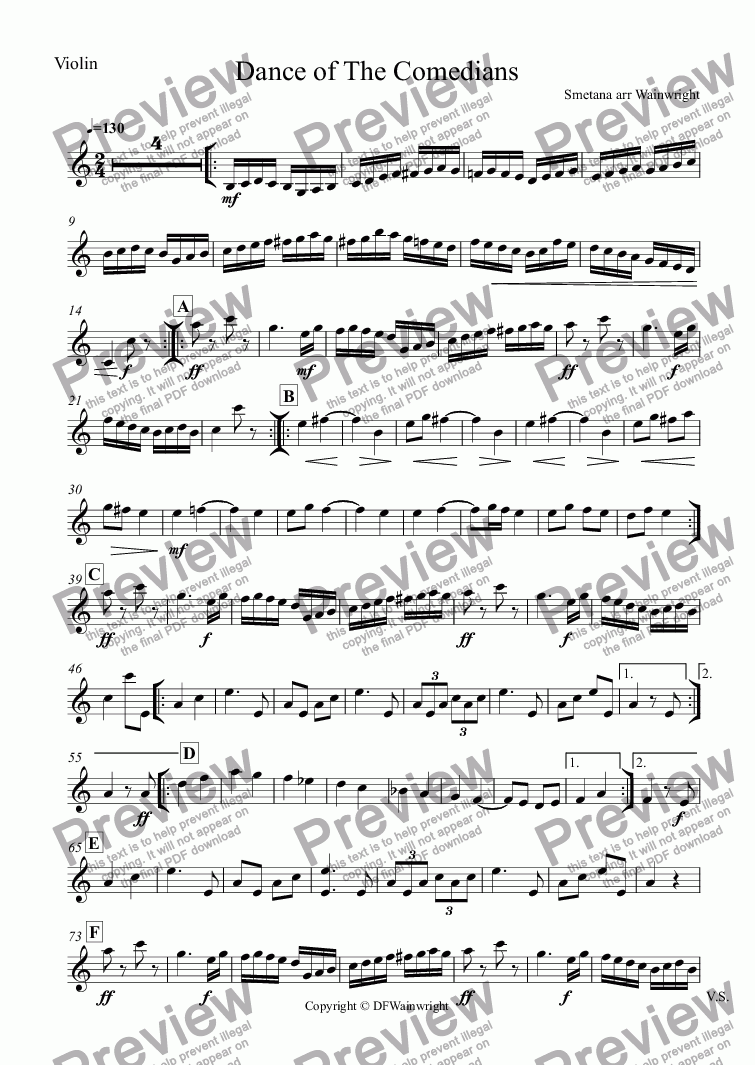 page one of the Violin part from Dance of The Comedians