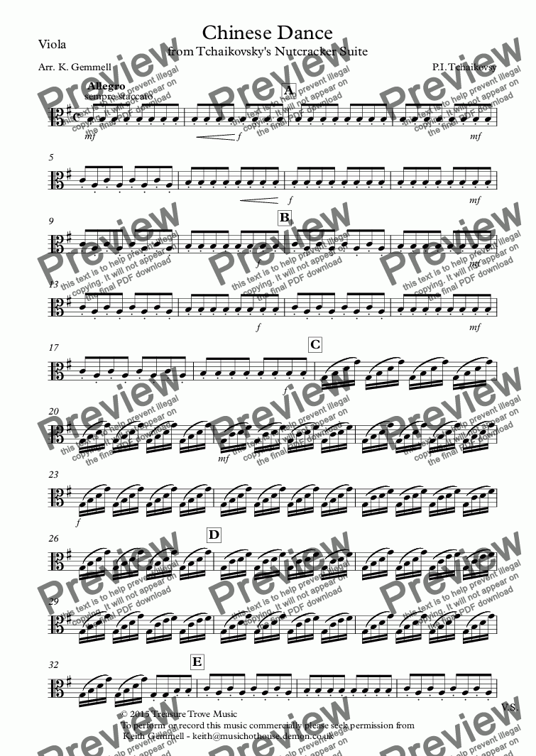 page one of the Viola part from Nutcracker Suite - Chinese Dance: String Quartet