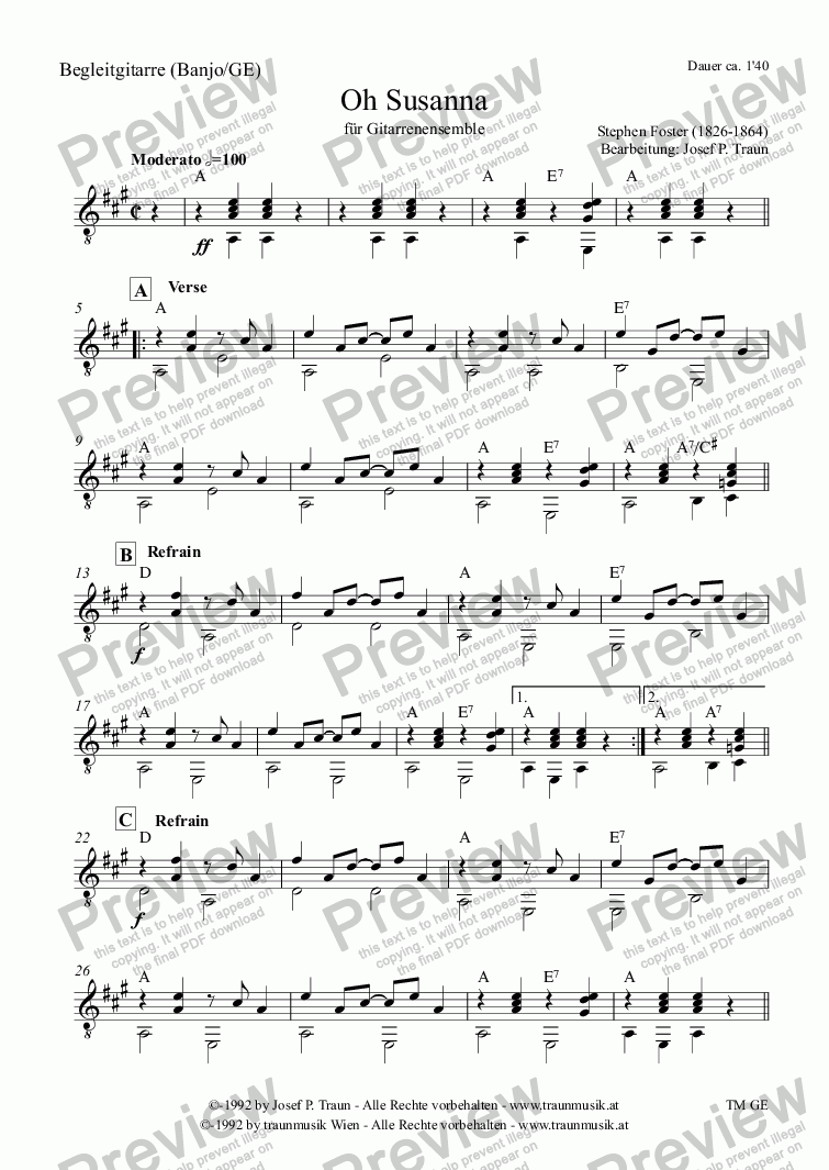 page one of the Begleitgitarre (GE) part from Oh Susanna (GE/Score & Parts)
