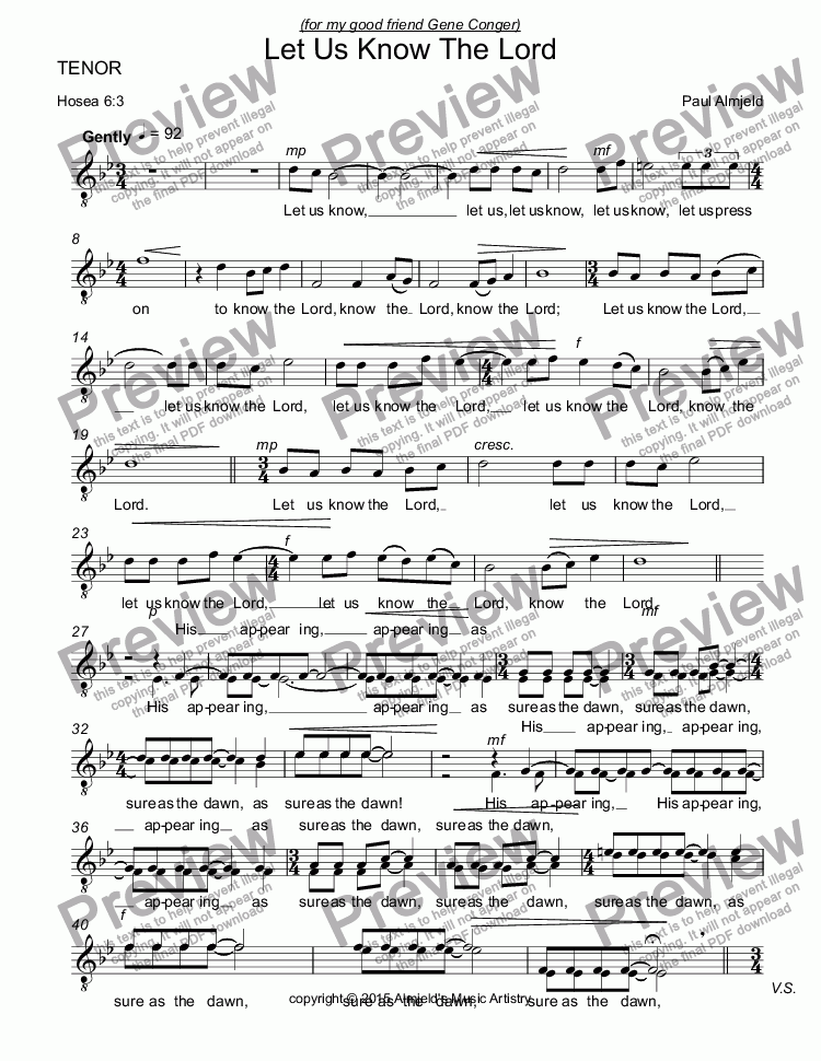 page one of the TENOR part from Let Us Know The Lord