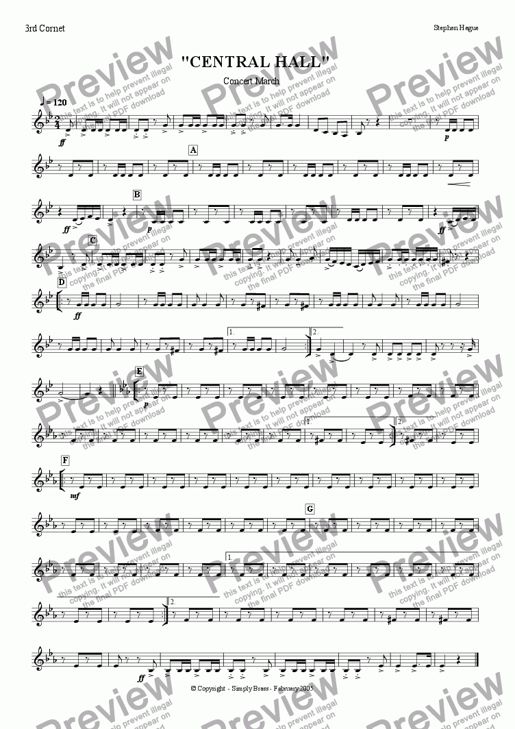 "page one of the 3rd Cornet part from March - ""Central Hall"""