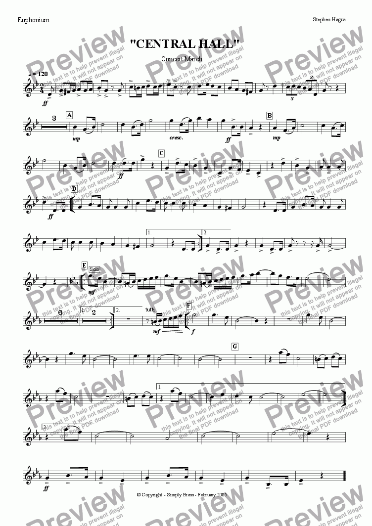"page one of the Euphonium part from March - ""Central Hall"""