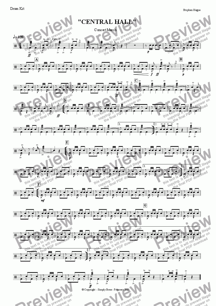 "page one of the Drum Kit part from March - ""Central Hall"""