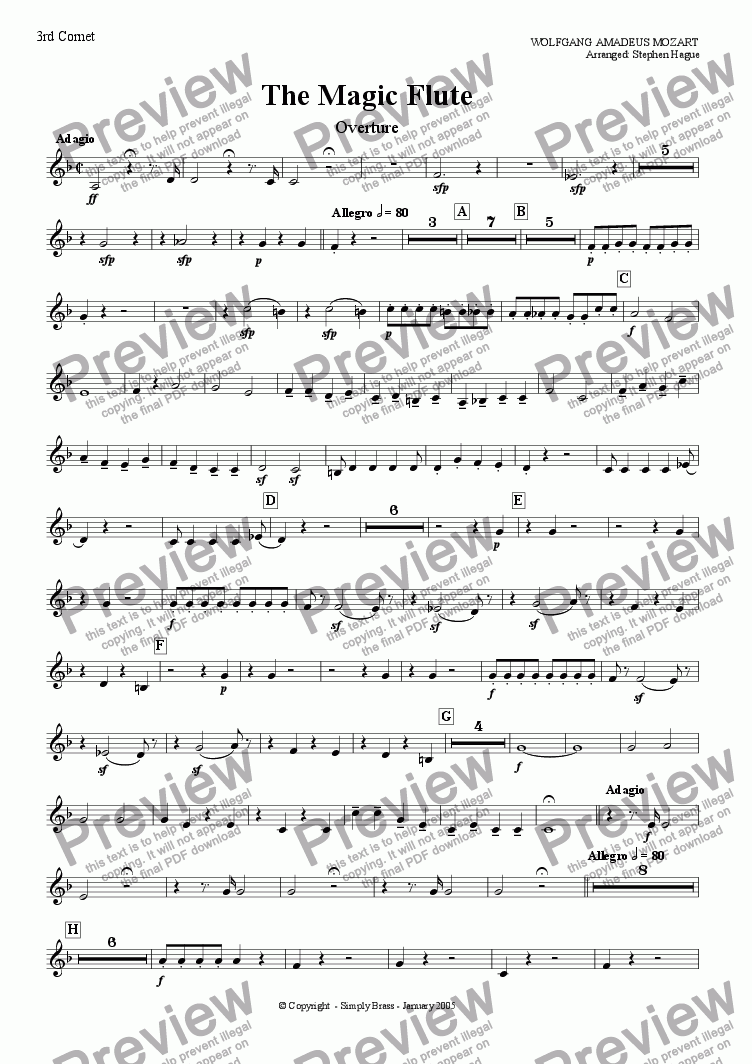 page one of the 3rd Cornet part from Overture - The Magic Flute