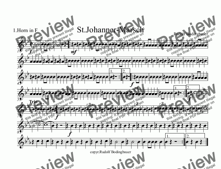 page one of the 1.Horn in F part from St.Johanner-Marsch