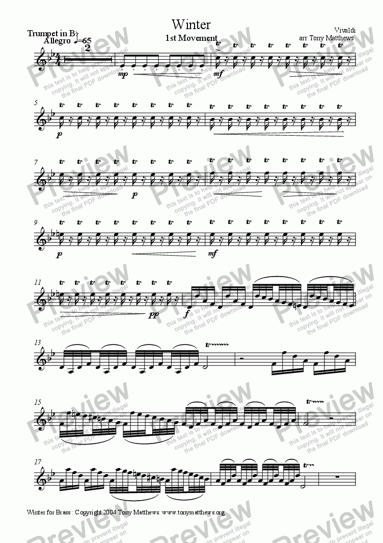 page one of the Trumpet in B flat part from Vivaldi's WInter for Brass (Tr, Hn, Tb)