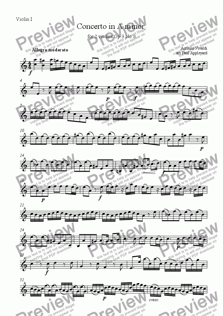 page one of the Violin 1 part from Concerto in A minor for two violins Op 3 No 8 (Vivaldi)