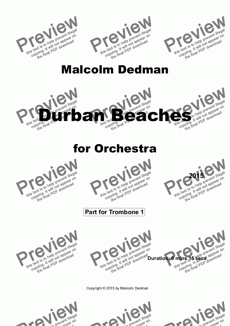 page one of the Trombone 1 part from Durban Beaches