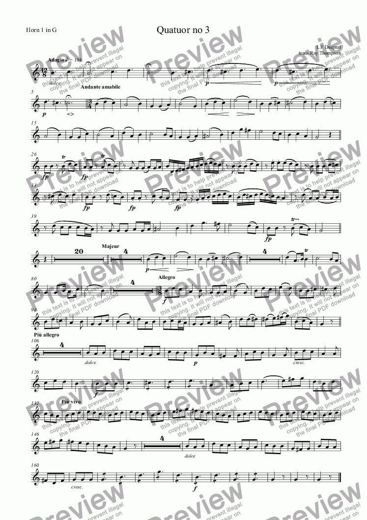 page one of the Horn 1 in G part from Dauprat: Quatuor no 3: horn quartet
