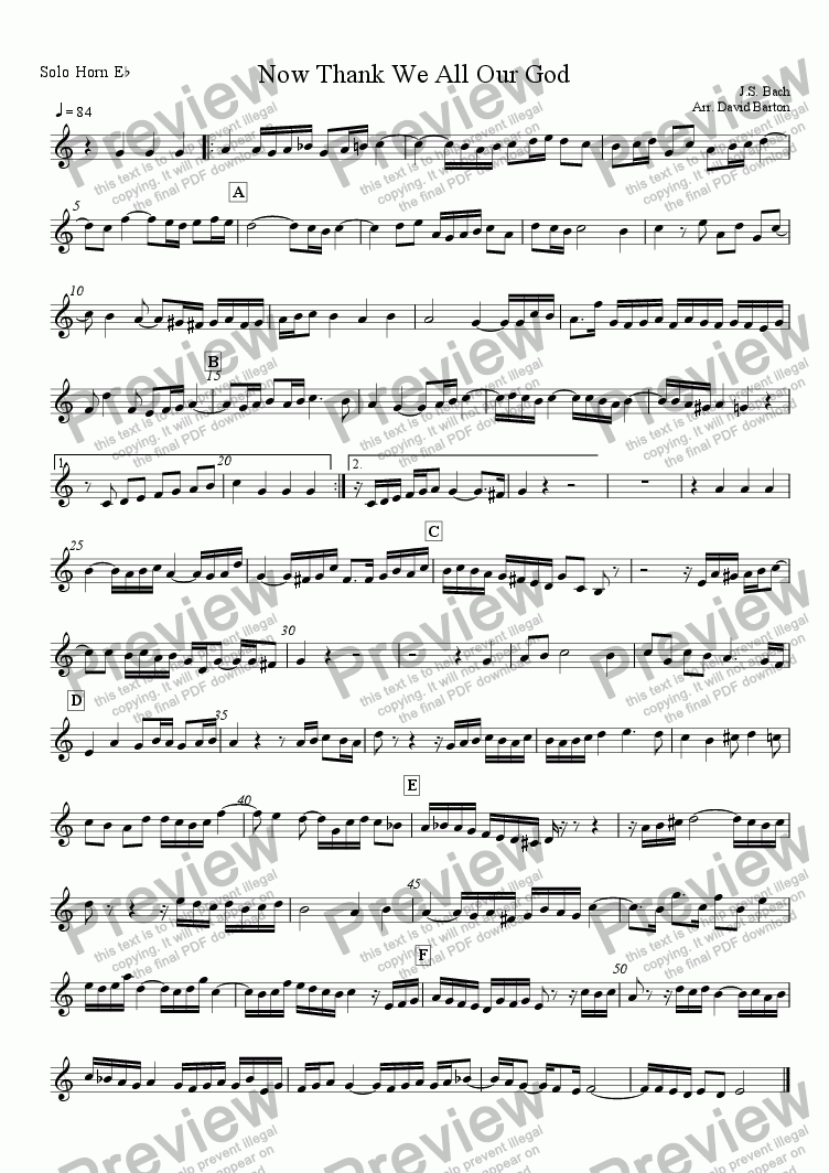 "page one of the Solo Horn part from ""Now Thank We All Our God"" by J. S. Bach - Setting for Brass Band"