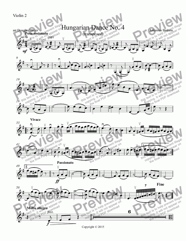 page one of the Violin 2 part from Hungarian Dance No. 4