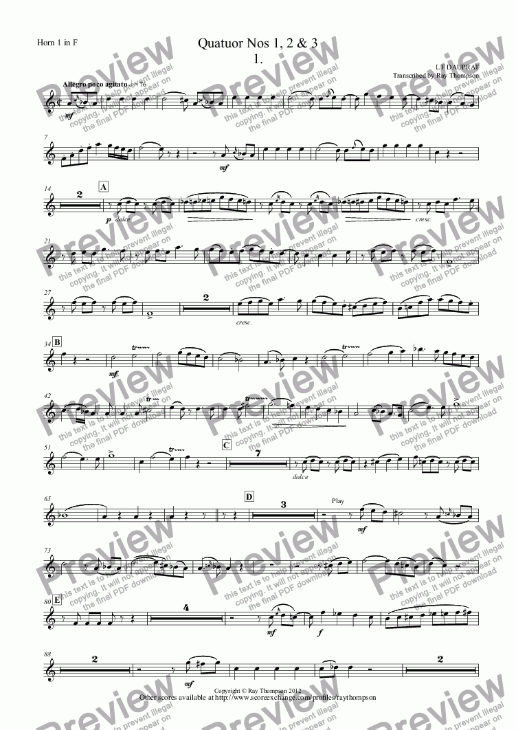 page one of the Horn 1 in F part from Dauprat: Horn Quartets Nos. 1,2 &3 (Quatuor Nos 1, 2 & 3)