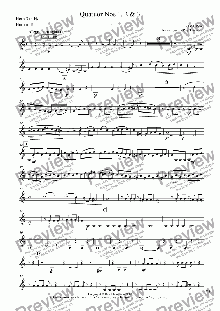 page one of the Horn 3 in E^b, Horn in E part from Dauprat: Horn Quartets Nos. 1,2 &3 (Quatuor Nos 1, 2 & 3)