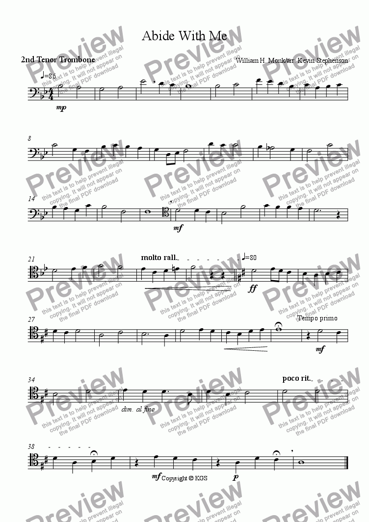 page one of the Trombone 2 part from Abide With Me