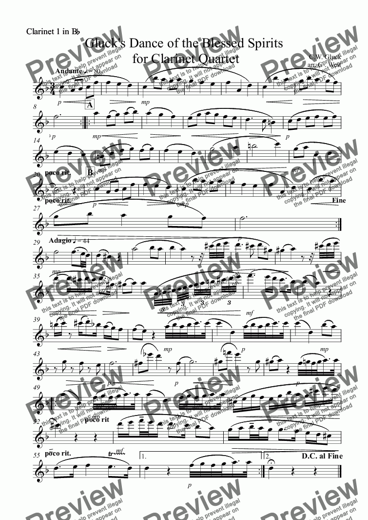 page one of the Clarinet 1 in B^b part from Gluck's Dance of the Blessed Spirits  for Clarinet Quartet