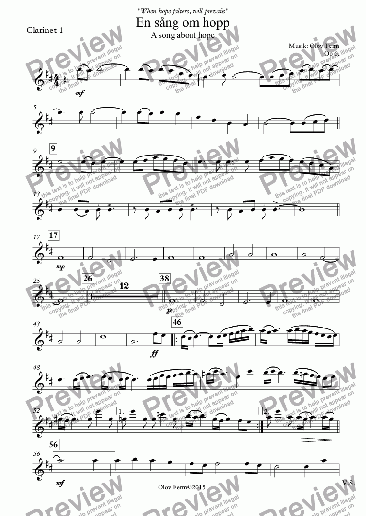 page one of the Clarinet 1 part from A song about hope