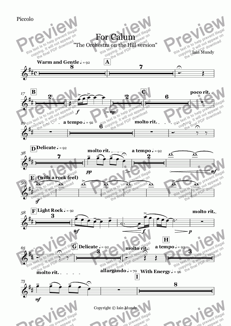 page one of the Piccolo part from For Calum - Orchestral Version