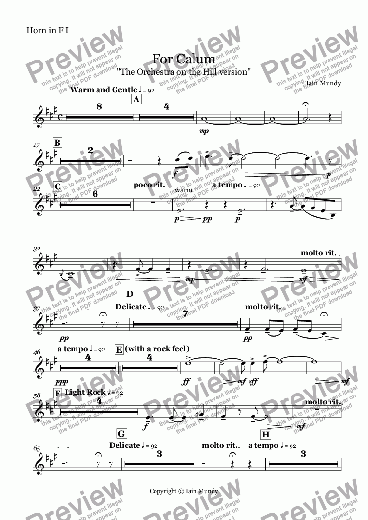 page one of the Horn in F I part from For Calum - Orchestral Version