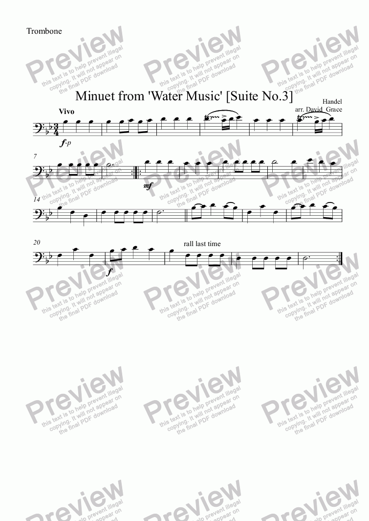 page one of the Trombone bass clef part from Minuet from Water Music [Suite No. 3]