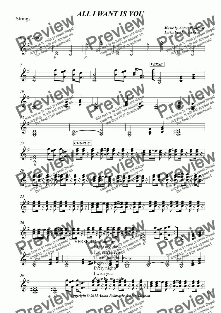 page one of the Strings part from ALL I WANT IS YOU